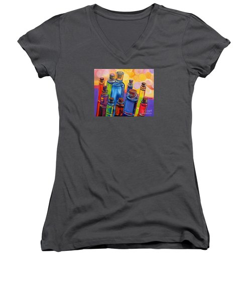 Bottled Rainbow Women's V-Neck T-Shirt (Junior Cut) by Julie Brugh Riffey
