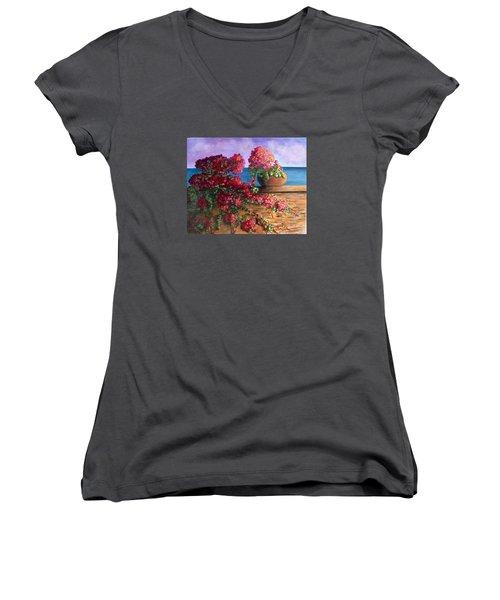 Bountiful Bougainvillea Women's V-Neck T-Shirt (Junior Cut) by Laurie Morgan