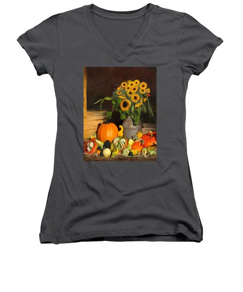 Bountiful Harvest - Floral Painting Women's V-Neck (Athletic Fit)