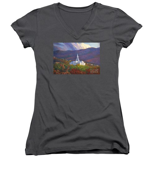 Bountiful Temple In The Mountains Women's V-Neck