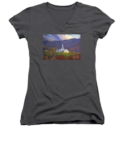 Bountiful Temple In The Mountains Women's V-Neck T-Shirt