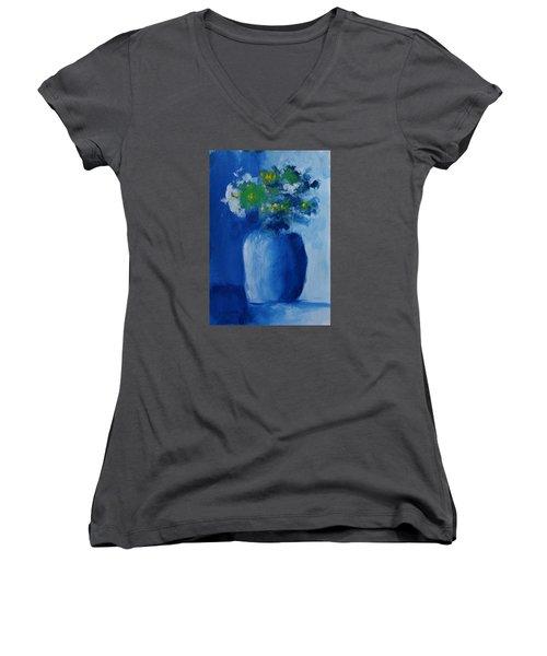 Bouquet In Blue Shadow Women's V-Neck