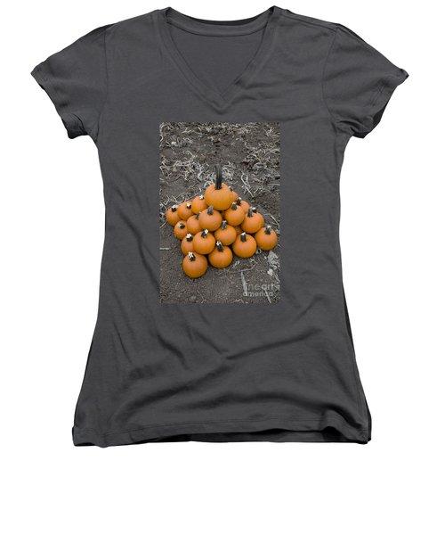 Bowling For Pumpkins Women's V-Neck T-Shirt (Junior Cut) by David Millenheft