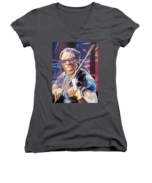 Boyd Tinsley And 2007 Lights Women's V-Neck T-Shirt (Junior Cut) by Joshua Morton