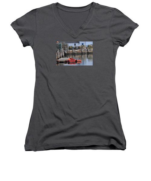 Women's V-Neck T-Shirt (Junior Cut) featuring the photograph Bradley Wharf Dinghies by Mike Martin