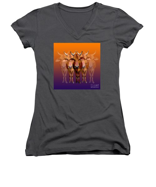 Brahman Cow Women's V-Neck T-Shirt (Junior Cut) by Jean luc Comperat