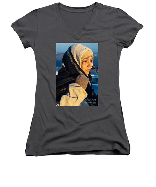 Women's V-Neck T-Shirt (Junior Cut) featuring the photograph Braving The Cold by Fotosas Photography