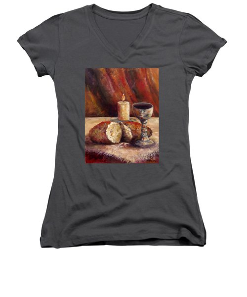 Bread And Wine Women's V-Neck T-Shirt (Junior Cut) by Lou Ann Bagnall
