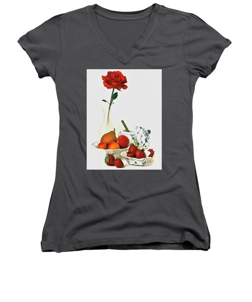 Women's V-Neck T-Shirt (Junior Cut) featuring the photograph Breakfast For Lovers by Elf Evans
