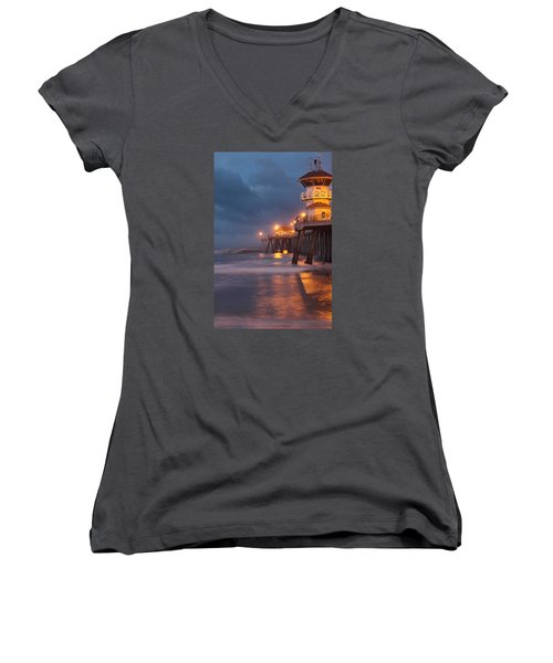 Women's V-Neck T-Shirt (Junior Cut) featuring the photograph Breaking  Dawn  by Duncan Selby