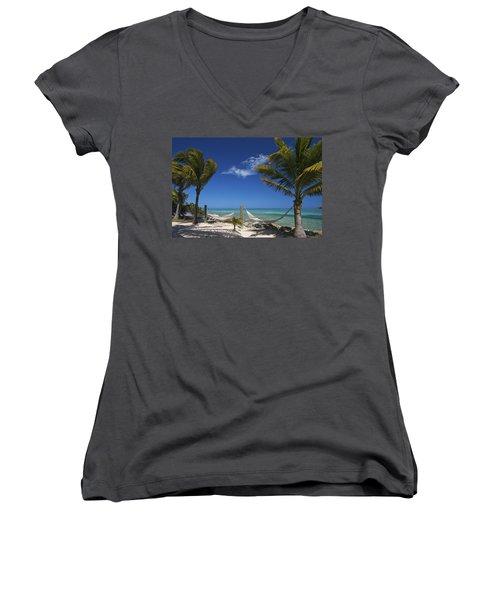 Breezy Island Life Women's V-Neck T-Shirt (Junior Cut) by Adam Romanowicz