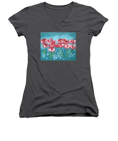 Brezzy Poppies Women's V-Neck T-Shirt