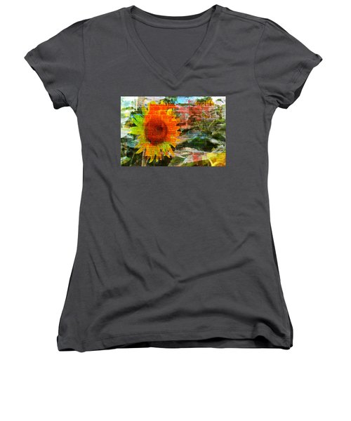 Women's V-Neck featuring the photograph Bricks And Sunflowers by Alice Gipson