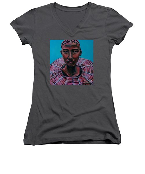 Bride - Portrait African Women's V-Neck (Athletic Fit)
