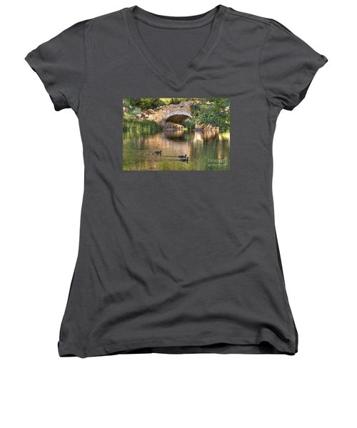 Women's V-Neck T-Shirt (Junior Cut) featuring the photograph Bridge At Stow Lake by Kate Brown