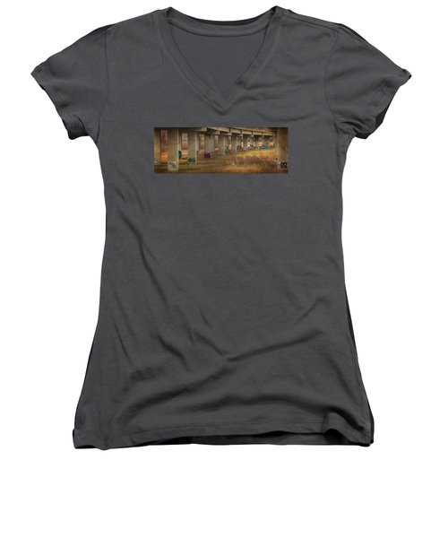 Bridge Graffiti Women's V-Neck T-Shirt (Junior Cut) by Patti Deters