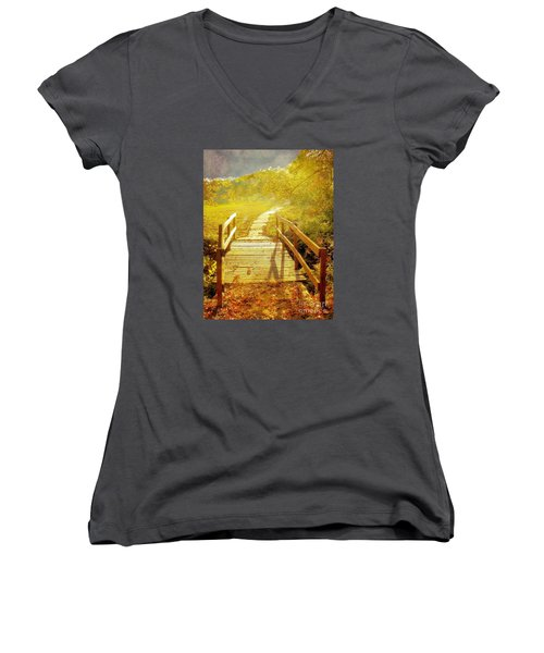 Bridge Into Autumn Women's V-Neck T-Shirt (Junior Cut) by Janette Boyd