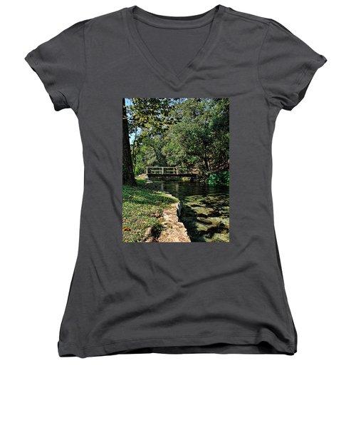 Bridge Of Serenity Women's V-Neck T-Shirt (Junior Cut) by Judy Vincent