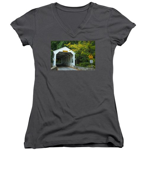 Women's V-Neck T-Shirt (Junior Cut) featuring the photograph Bridge On Route 252 In Valley Forge by Rima Biswas