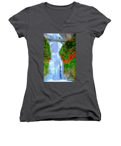 Bridge Over Beautiful Water Women's V-Neck T-Shirt (Junior Cut) by Catherine Lott