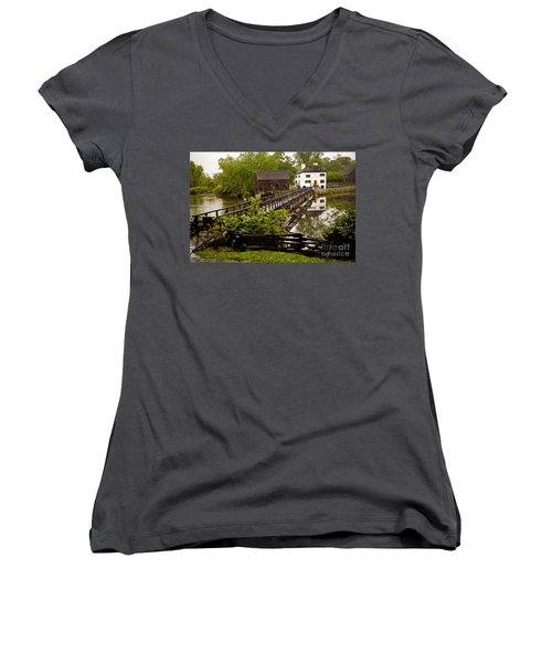 Women's V-Neck T-Shirt (Junior Cut) featuring the photograph Bridge To Philipsburg Manor Mill House by Jerry Cowart