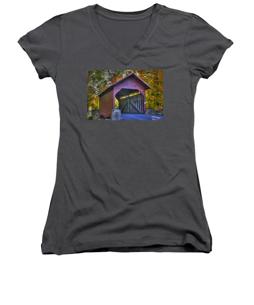 Bridge To The Past Roddy Road Covered Bridge-a1 Autumn Frederick County Maryland Women's V-Neck T-Shirt (Junior Cut) by Michael Mazaika