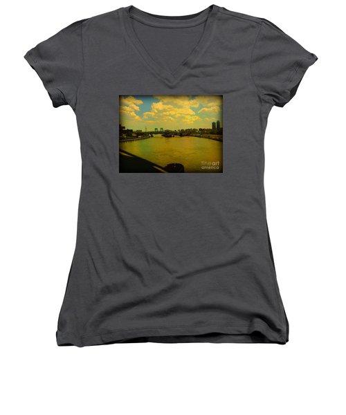 Bridge With Puffy Clouds Women's V-Neck T-Shirt (Junior Cut) by Miriam Danar