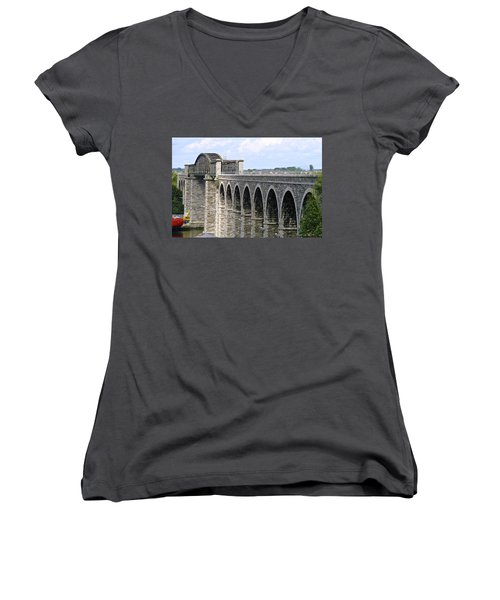 Bridging The Boyne Women's V-Neck T-Shirt (Junior Cut) by Charlie and Norma Brock