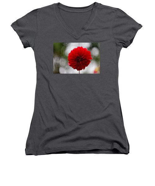 Bright Red Dahlia Women's V-Neck (Athletic Fit)