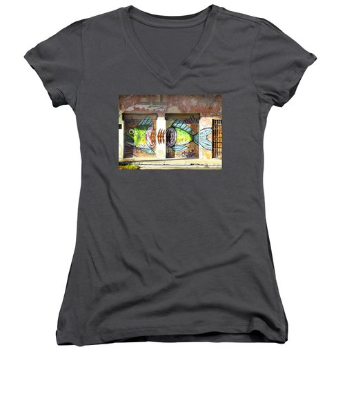 Brightly Colored Fish Mural Women's V-Neck T-Shirt (Junior Cut)