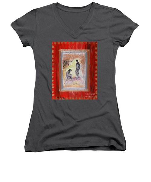 Broken Promises Women's V-Neck T-Shirt (Junior Cut) by Loredana Messina