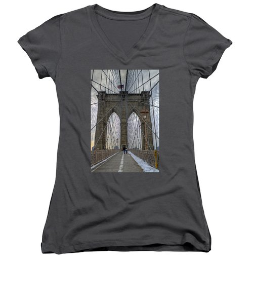Women's V-Neck T-Shirt (Junior Cut) featuring the photograph Brooklyn Bridge by Jerry Gammon