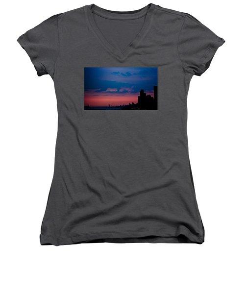 Women's V-Neck T-Shirt (Junior Cut) featuring the photograph Brooklyn Bridge Sunrise by Sara Frank