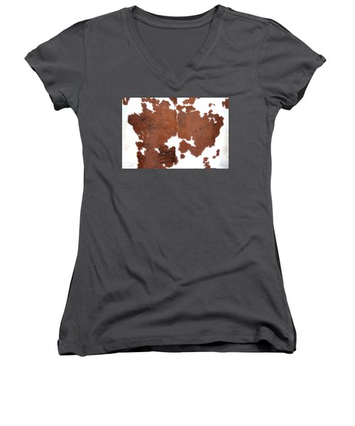 Brown Cowhide Women's V-Neck