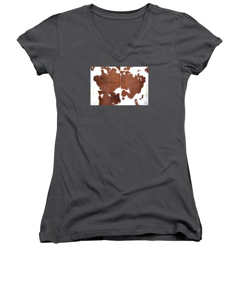 Brown Cowhide Women's V-Neck T-Shirt