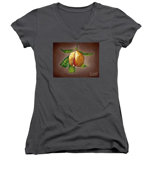 Women's V-Neck T-Shirt (Junior Cut) featuring the painting Brown Glow Nutmeg by Laura Forde