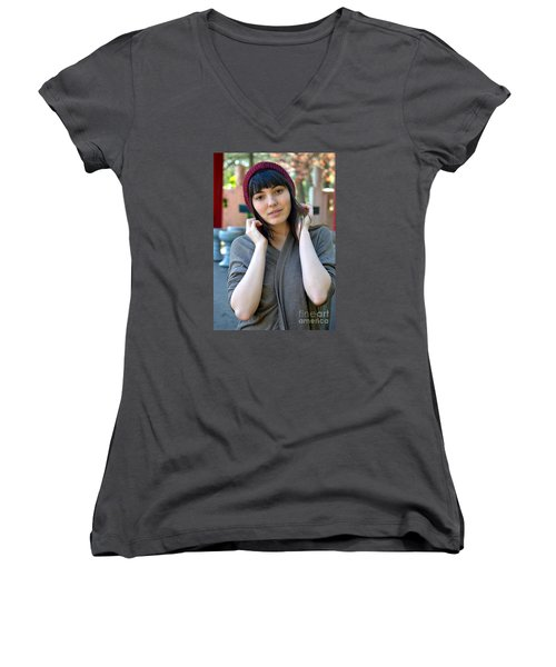 Brown Haired And Freckle Faced Natural Beauty Model Lizzie Gunst Vii Women's V-Neck T-Shirt (Junior Cut) by Jim Fitzpatrick