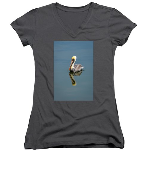 Women's V-Neck T-Shirt (Junior Cut) featuring the photograph Brown Pelican Reflection by Debra Martz