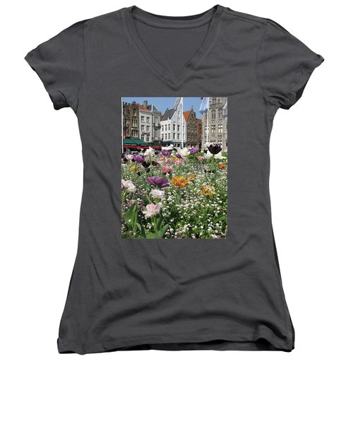 Women's V-Neck T-Shirt featuring the photograph Brugge In Spring by Ausra Huntington nee Paulauskaite