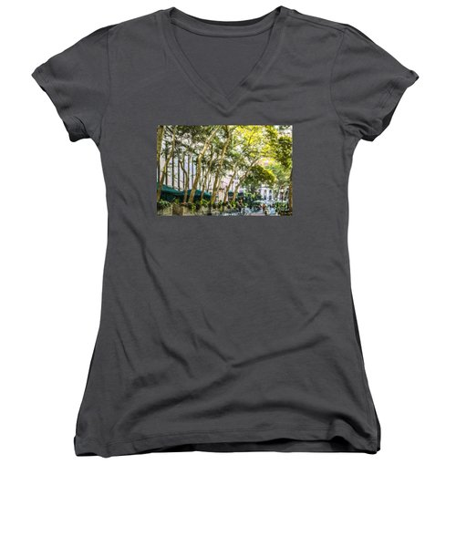 Bryant Park Midtown New York Usa Women's V-Neck T-Shirt (Junior Cut) by Liz Leyden