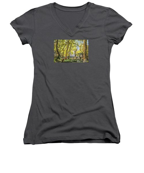 Bryant Park October Morning Women's V-Neck T-Shirt (Junior Cut) by Liz Leyden