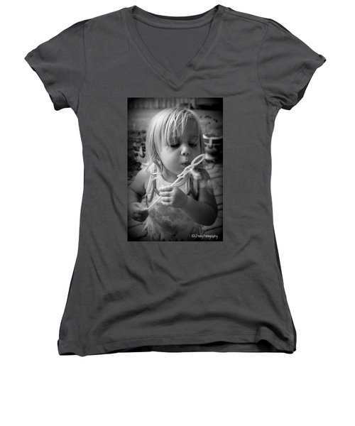 Women's V-Neck T-Shirt (Junior Cut) featuring the photograph Bubble Fun by Laurie Perry