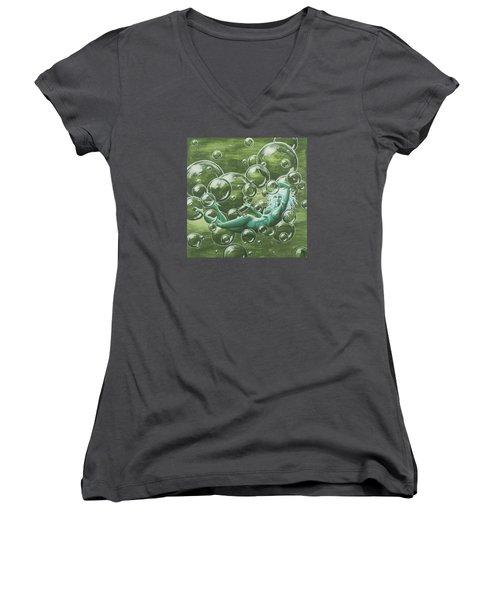 Bubbles Women's V-Neck T-Shirt (Junior Cut) by Jack Malloch