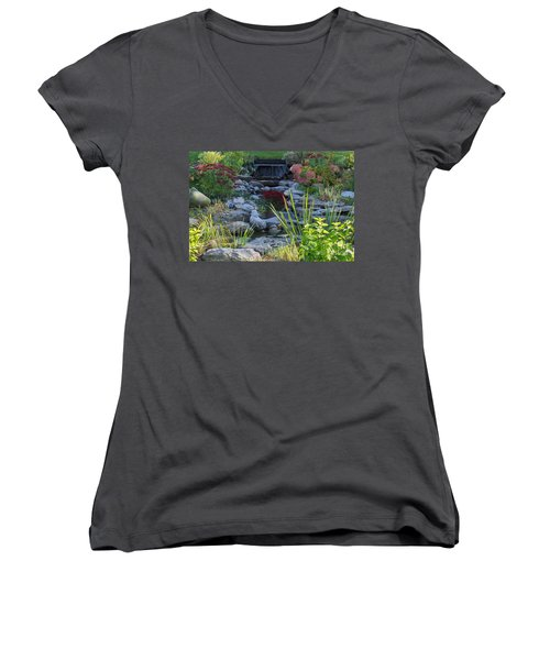 Women's V-Neck T-Shirt (Junior Cut) featuring the photograph Buddha Water Pond by Brenda Brown