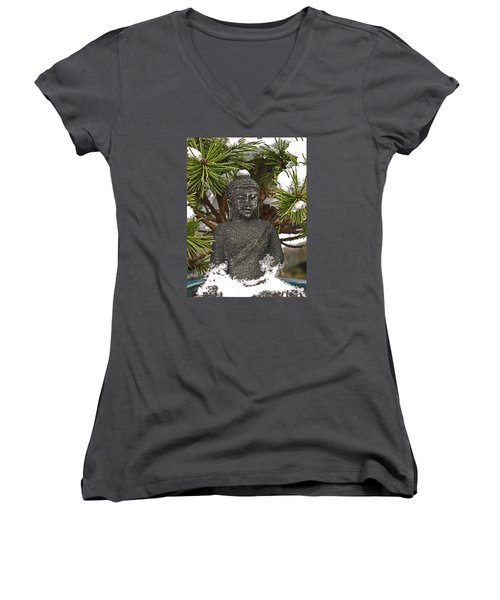 Buddha In The Snow Women's V-Neck
