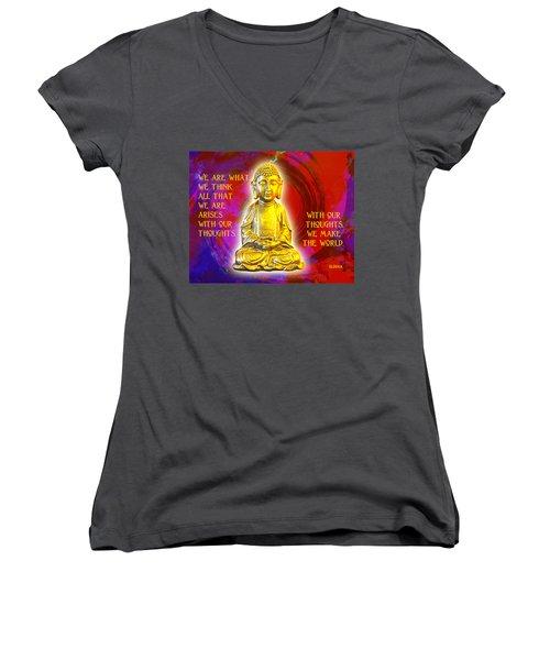 Buddha's Thoughts 2 Women's V-Neck T-Shirt (Junior Cut) by Ginny Gaura