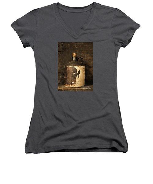 Buddy Bear Moonshine Jug Women's V-Neck T-Shirt (Junior Cut) by John Stephens