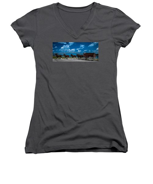 Budweiser Clydsdales And Blue Water Bridges Women's V-Neck T-Shirt