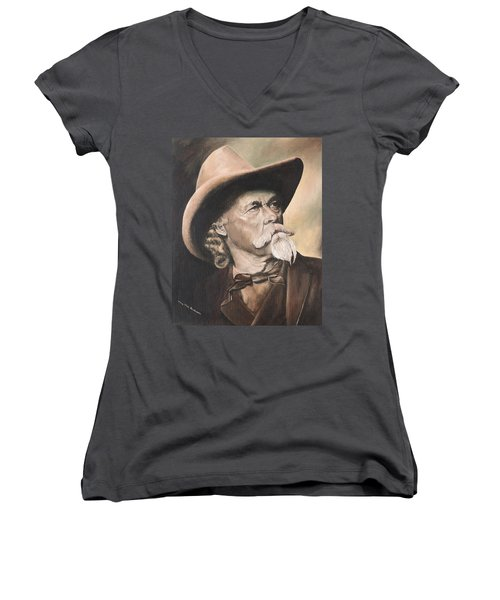 Buffalo Bill Cody Women's V-Neck T-Shirt (Junior Cut)