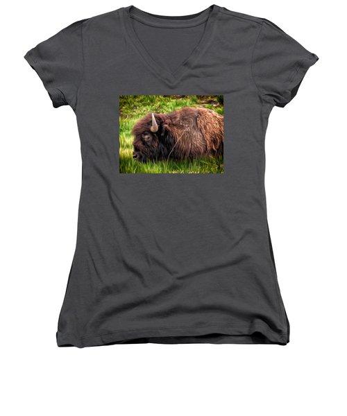 Women's V-Neck T-Shirt (Junior Cut) featuring the painting Buffalo Cat Nap by Michael Pickett
